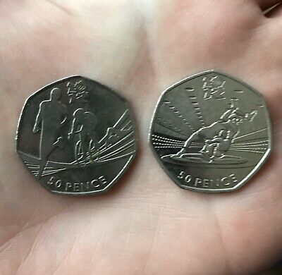 2 Coins! London Olympic 2011 50p Pence Coins - Triathlon & Wrestling
