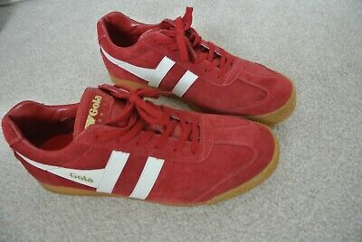 Gola Harrier Suede Trainers in Deep Red /& White retro 70s 80s 90s