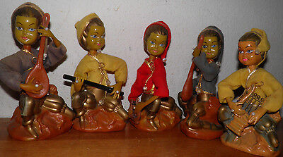 "5 PIXIE STATUES 7.5"" HOLLYWOOD REGENCY MID CENTURY MODERN MUSICAL  -20 OFF Today"