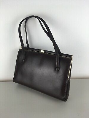 Vintage Kelly 1960's Brown Leather Salisbury Handbag with Gold Trim
