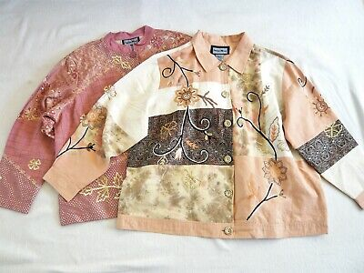 Indigo Moon TWO ladies jackets Embellished embroidery sequins VGC 2XL = UK 22/24