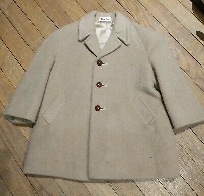 Vintage child's coat mohair camel Rob Roy wool leather buttons boys lined