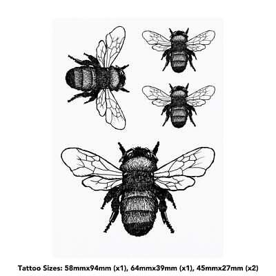 4 x 'Bumble Bee' Temporary Tattoos (TO00000707)