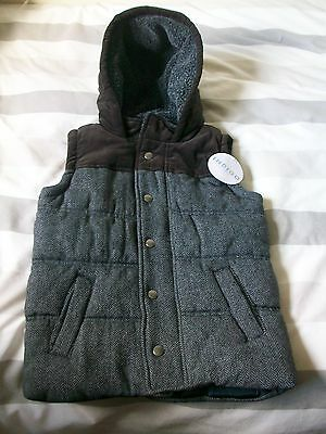 Wool Blend M&S Indigo Sleeveless Hooded Quilted Jacket, Age 5-6 Years, BNWT