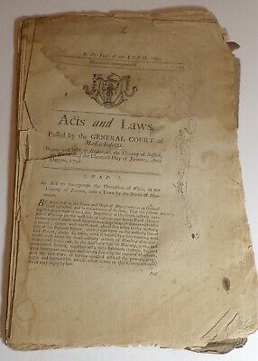 Antique 1792 First Acts and Laws of Monmouth Maine, creation Fryeburg Academy!