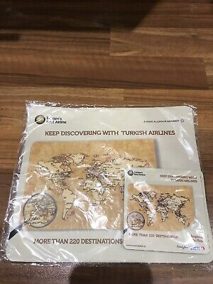 Turkish Airlines Mouse Mat And Two Drinks Coasters