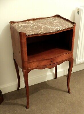 Antique Louis XV style kingwood side table de nuit with rouge veined marble top