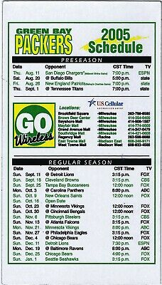 2005 Green Bay Packers Nfl Football Magnet Schedule Sked Go Wireless Us Cellular
