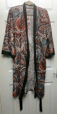 St. Michael Grand Brown Mosaic Satin Smoking Robe Dressing Gown - L Chest 44-46