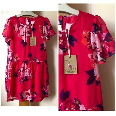 BNWT Joules Girls Age 9-10 Years Red Floral Pattern Summer Dress