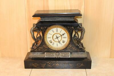 Impressive Antique Ansonia 'Rosalind' Iron Mantle Clock ~ 1904 ~
