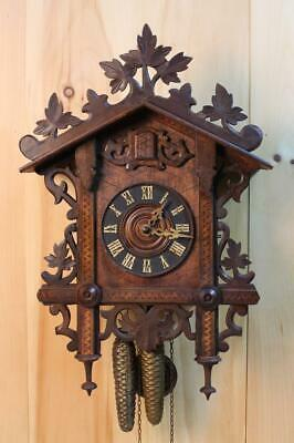 Antique GK Bahnhausle Railroad Cuckoo Clock ~ Black Forest Germany