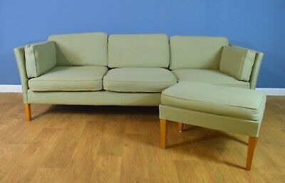 Mid Century Retro Danish Pale Green Wool 3 Seat Sofa Settee by Erik Jorgensen