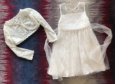 Monsoon Girls Age 3-4 Years White Special Occasion Set Lace Dress + Srug Vgc