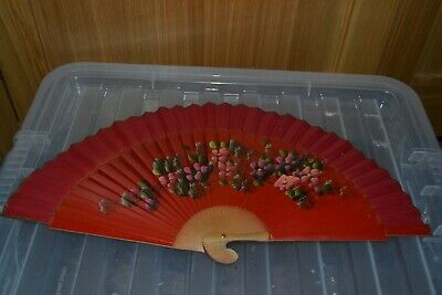 Vintage Hand Painted Wood & Fabric Floral Hand Fan - #SB