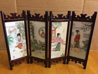 Antique Old chinese hand painted porcelain 4 panel set table screen