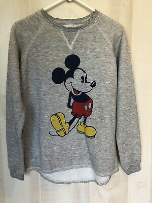 Disney Mickey Mouse Gray Pullover Sweatshirt Top Size Medium