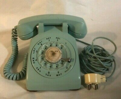 Vintage Western Electric Blue Rotary Dial Telephone with Old Fashion Plug In