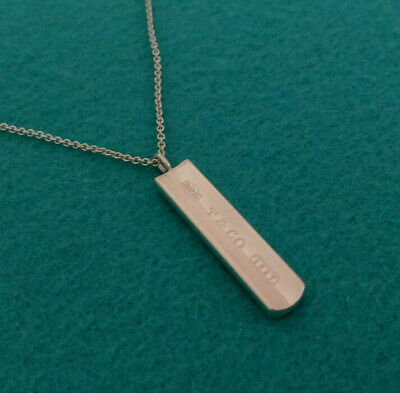 "Tiffany & Co. 1837 Bar Pendant Necklace,18"" Chain, Sterling Silver 925"