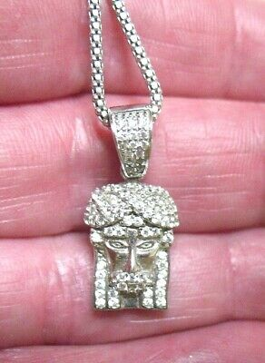 "Sterling Silver Maharaja Pendant On Chain Necklace Clear Stone 22""   6.4 Grams"