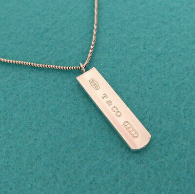 Tiffany & Co. 1837 Bar Snake Chain Pendant Necklace, Sterling Silver 925