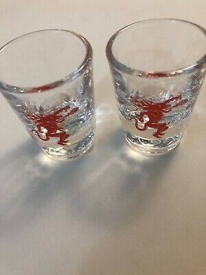 2 Fireball Cinnamon Whisky Clear Red Shot Glass.  Mint Condition!