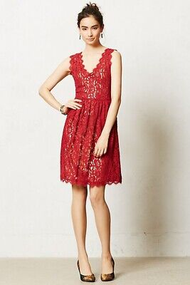 Anthropologie Greylin Red Melusine Fit and Flare Dress Scalloped Lace Sz Large