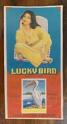 Indian ADVERTISING POSTER small Lucky Bird MATCHES Tobacco Cigarette Ad Matchbox