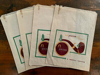 Group of 5 1940s MALTAN TOBACCO GROCERY BAGS rare Ruddell pipe tobacconist shop