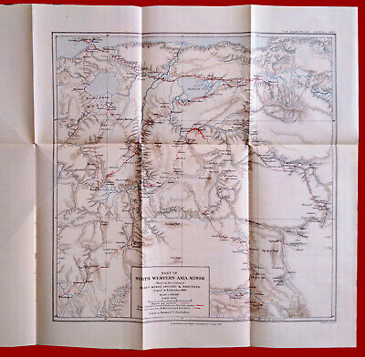 #39350 England 1897.Vintage Map of North Western Asia Minor.Royal Geogr. Society