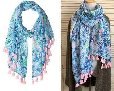 "NEW $68 Lilly Pulitzer Resort Scarf ""Coastal Blue Lion Around"" Wrap Coverup"
