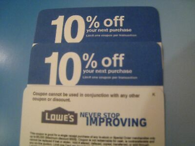 5 Lowes 10% Off physical COMPETITOR Coupon Exp 4/15/2020 to be mailed