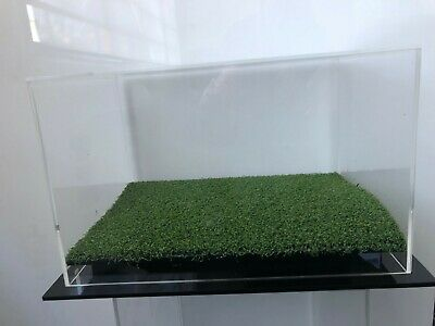 Single Boot  Acrylic Display with Grass  Perspex Case - Free Postage