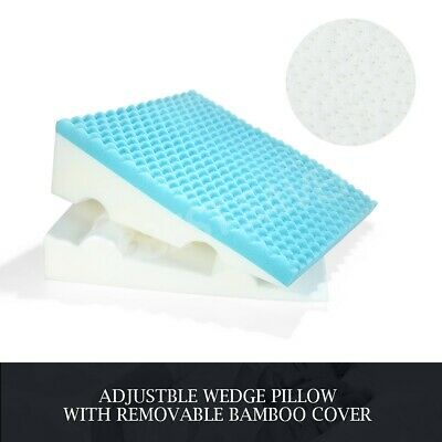 Adjustable Bed Wedge Pillow Cool Gel Memory Foam Back Support Cushion w/ Cover