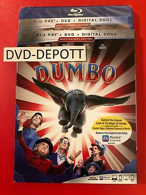 Dumbo Blu-ray + DVD + Digital & Slipcover (2019) Brand New FAST Free Shipping