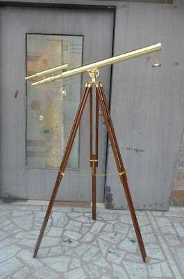 Marine Nautical Navy Brass Double Barrel 1 Meter Telescope With Wooden Tripod