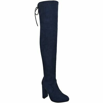 Womens Ladies Over The Knee Boots Thigh High Block High Heels Winter Party Shoes