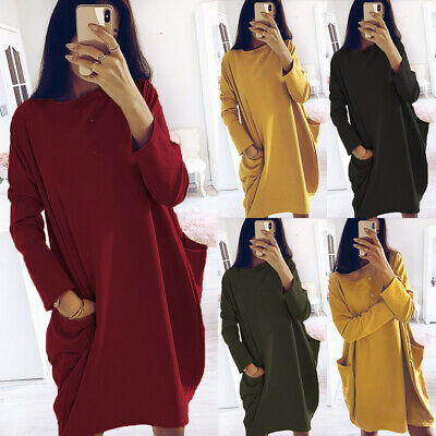 Womens Autumn Long Sleeve Ladies Casual Loose Baggy Pullover Pocket Jumper Dress