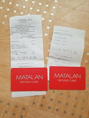 Matalan £50 Refund/Gift Card (2 x £25) - New & Unused With Receipts