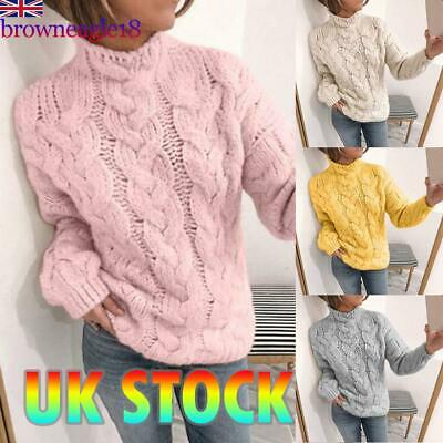 Women Thin Knit Cable Sweater Jumper Pullover Ladies Winter Autumn Knitwear Tops
