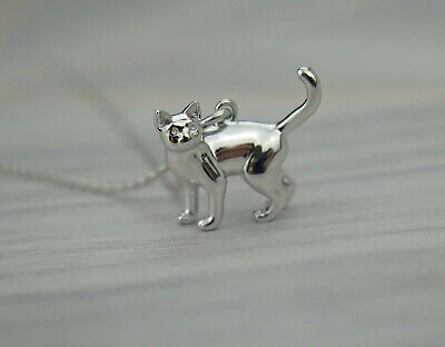 Sterling Silver Solid 925 Cat Kitten Pendant Necklace