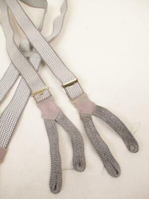Vintage 1960's Mens Button Braces Suspenders Grey & White Retro
