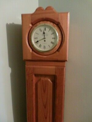 Large Vintage Tall Standing Wood Cabinet with Clock & 3 Doors / cupboards