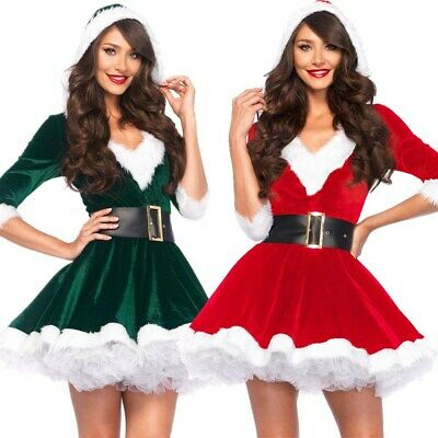 Women Christmas Fancy Party Dress Sexy Santa Claus Hoodie Cosplay Costumes