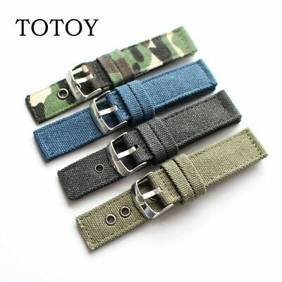 Canvas Wrist Watch Bands Strap Trendy Bracelet Pure Fabric Pin Buckle 20mm 24mm