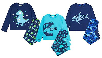 Boys Luxury Pyjamas Childrens Cuffed Pjs Kids Infants Soft Loungewear Gift Set