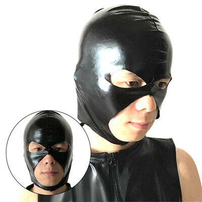 1 X Black PVC Wet Look Full Head Hood, Fetish Party Restraint Mask Costume Party