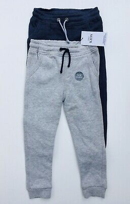 NEW Boys Jogging Bottoms Plain Jersey 2 Pack Ex M&S Age 3-4 Years Navy RRP £16