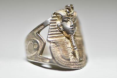 King Tut ring Egyptian Pharaoh Scarab  hieroglyphics sterling silver size 7.50