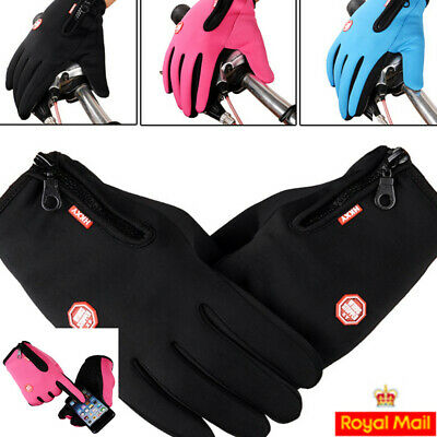 Women Men Touchscreen Warm Thermal Gloves Anti-slip Winter Zipper Waterresistant